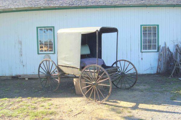 Une carriole dans le pays Amish, près de Lancaster