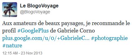 Tweet BlogoVoyage à propos de Gabriele Corno