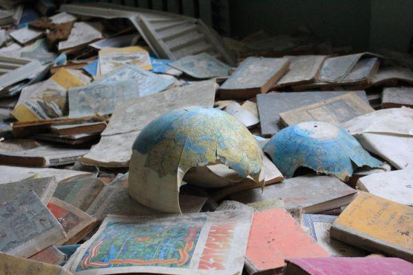 Un globe terrestre à l'école de Pripyat