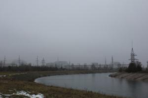 Vue du réacteur 4 au loin